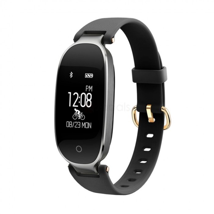 harga S3 fashion bluetooth smart band bracelet heart rate monitor black Tokopedia.com
