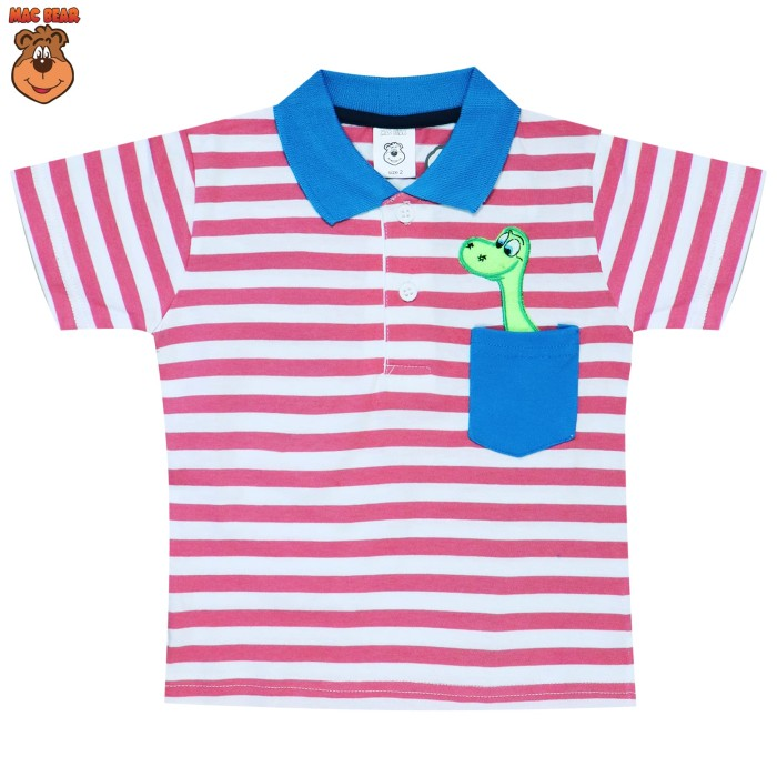 macbear kids baju anak atasan polo dino candy stripy salem - size 4 merah salem