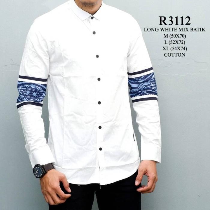 harga R3112 - long white mix batik / baju kemeja putih pria lengan panjang Tokopedia.com
