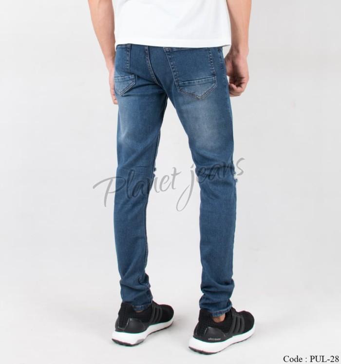 celana jeans pria sobek / robek lutut model skinny ripped cowok pul-28
