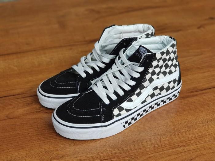 Jual Sepatu Vans Sk8-Hi Checkerboard Black White Premium Waffle DT ... bcb361bb21