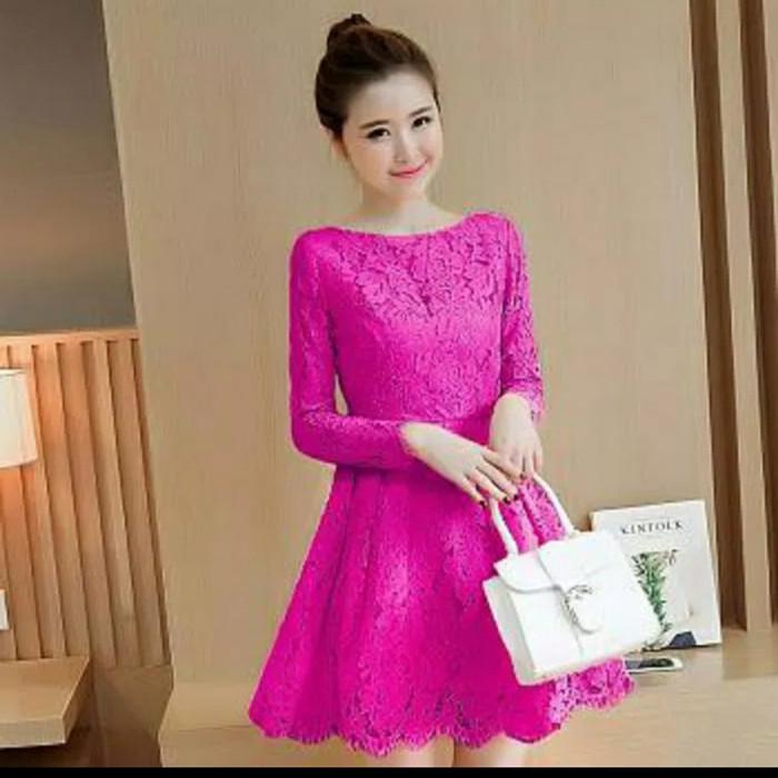 harga Dress midi/mini/gaun brukat/brokat/lace cantik simple elegant pesta Tokopedia.com