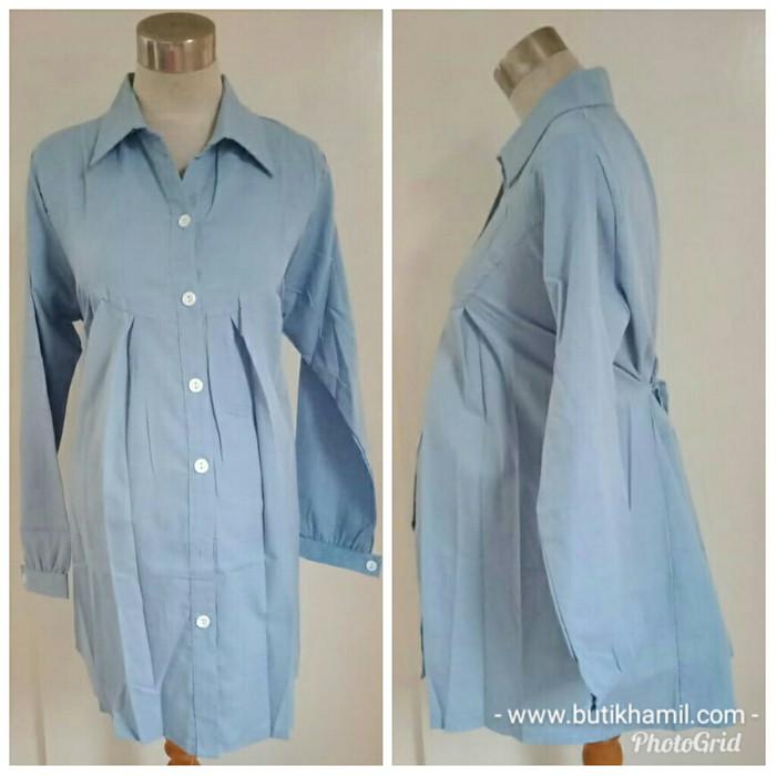 harga Baju atasan hem kemeja hamil menyusui kantor kerja biru katun 2303 Tokopedia.com