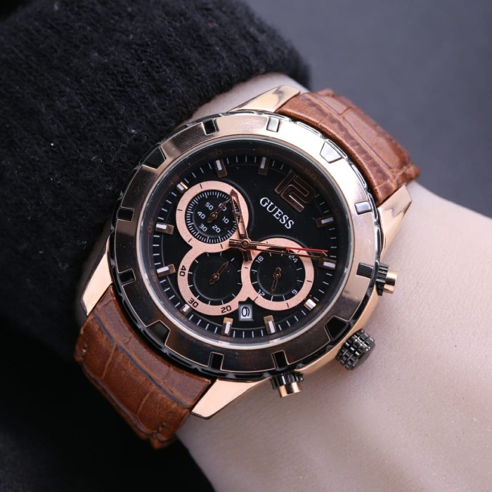 Jam tangan pria guess chrono aktif tali kulit