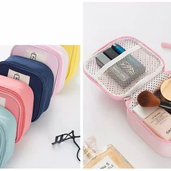 Tas Kosmetik Alat Make Up - Cable Pouch - Dompet Koin - Biru Muda
