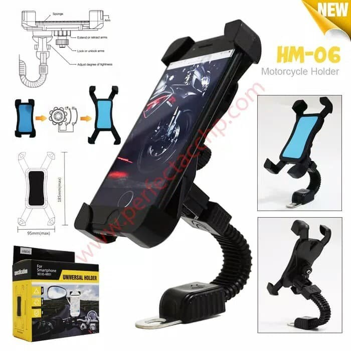 harga Universal mount holder hp/gps /tempat holder hp motor hm-06 Tokopedia.com