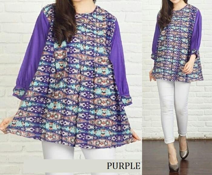 harga P004 atasan wanita batik songket katun bangkok baju kerja ukuran besar Tokopedia.com