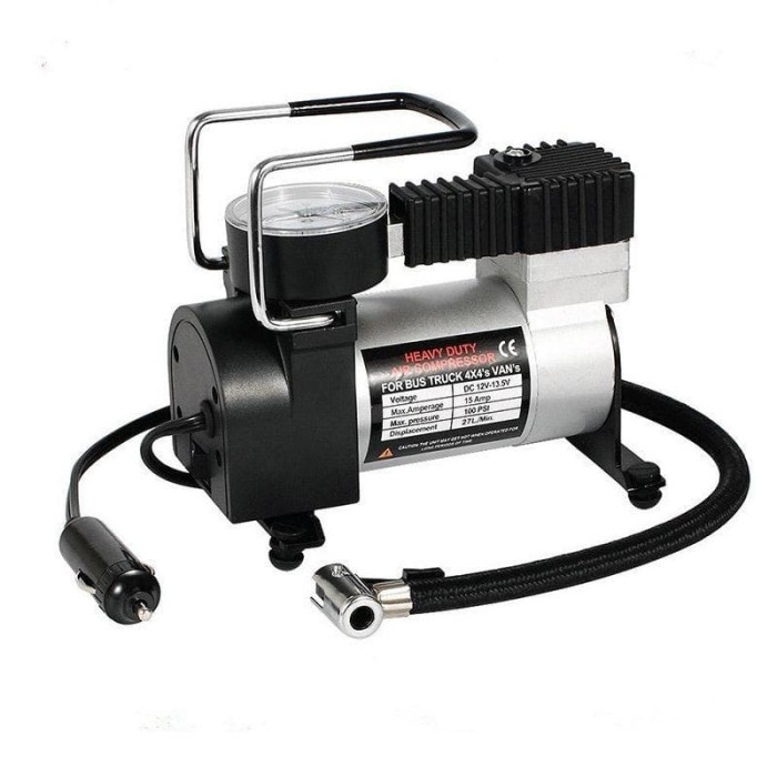 Pompa Ban Mini Tekanan 100PSI - Heavy Duty Air Compressor 12V DC E004