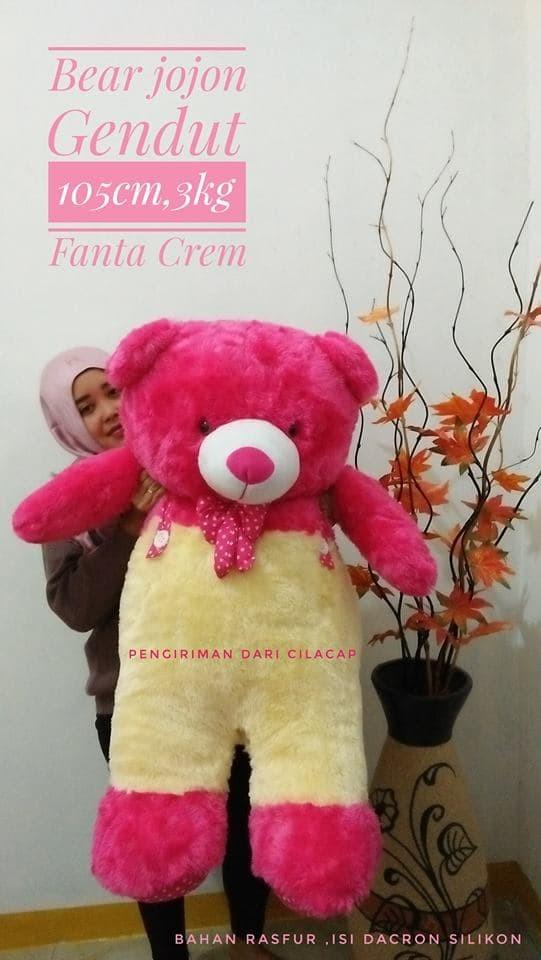 BONEKA BERUANG TEDDY BEAR JOJON JAYEN JUMBO CREAM PINK DOGER FANTA TUA - Fanta Cream