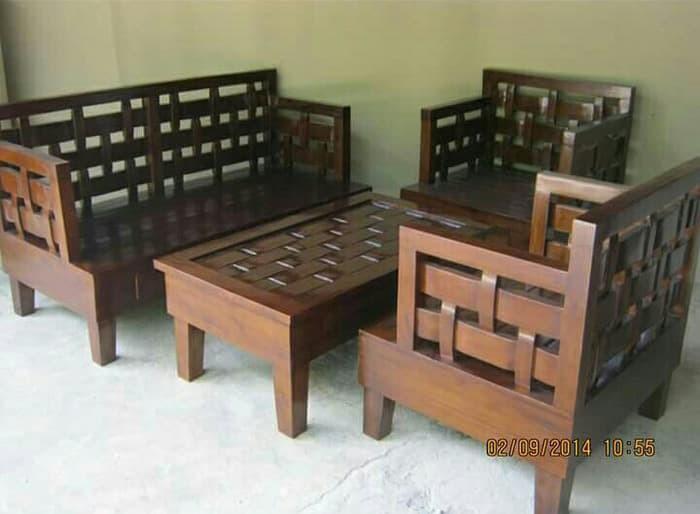 Jual Kursi Sofa Tamu Kepang Minimalis Kayu Jati Set Ruang Tamu Kab