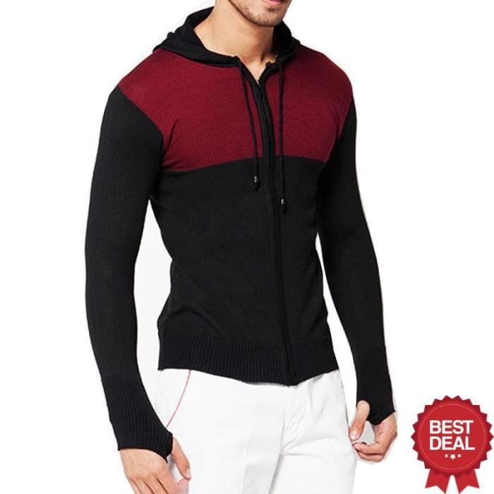 Lmg Jaket Sweater Bolak Balik Urgan Motif Garis 02 Multicolor Source · VM Sweater Rajut hoodie Ariel Finger Hitam kombinasi Long knitt