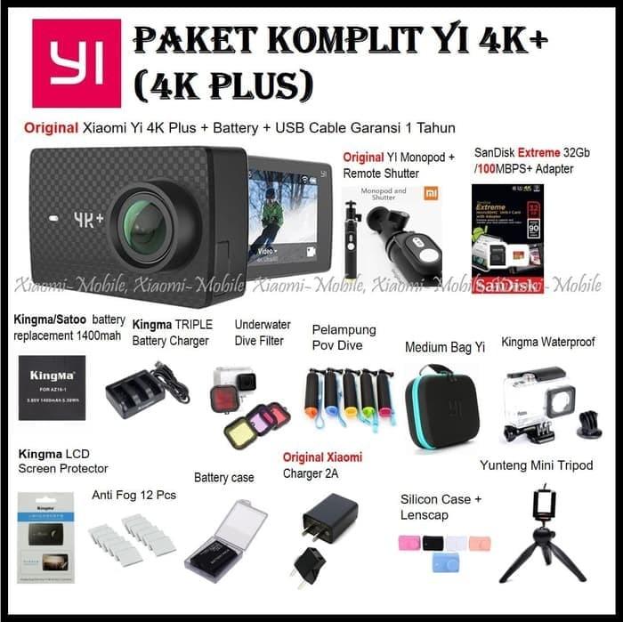 Paket Komplit Xiaomi Yi 4K Plus (4K+) Action Camera Original Monopod