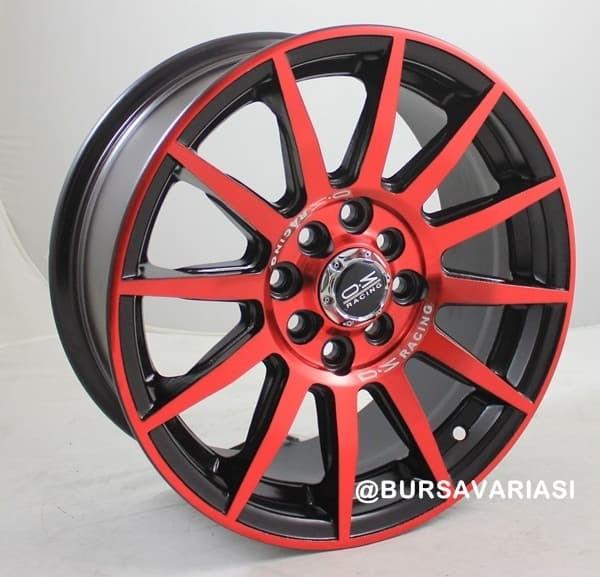 Velg Jazz Avanza OZ TE-57 Black Face Red R16 4x100 4x114.3 -