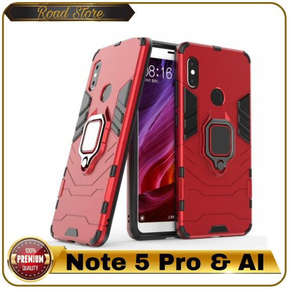 Casing Xiaomi Redmi Note 5 Pro AI A1 Iron Man Armor Hard Ring Case - Merah