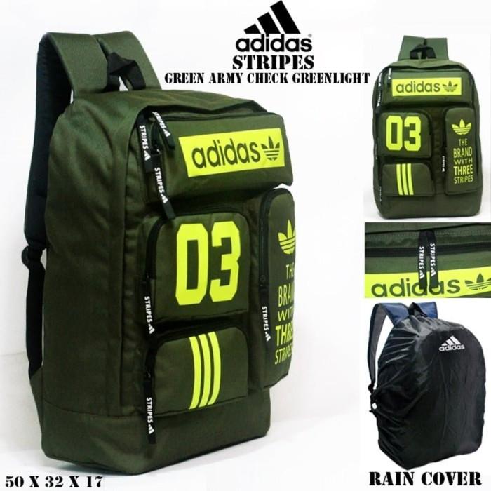 TERBATAS tas ransel adidas stripes green army check greenlight free r