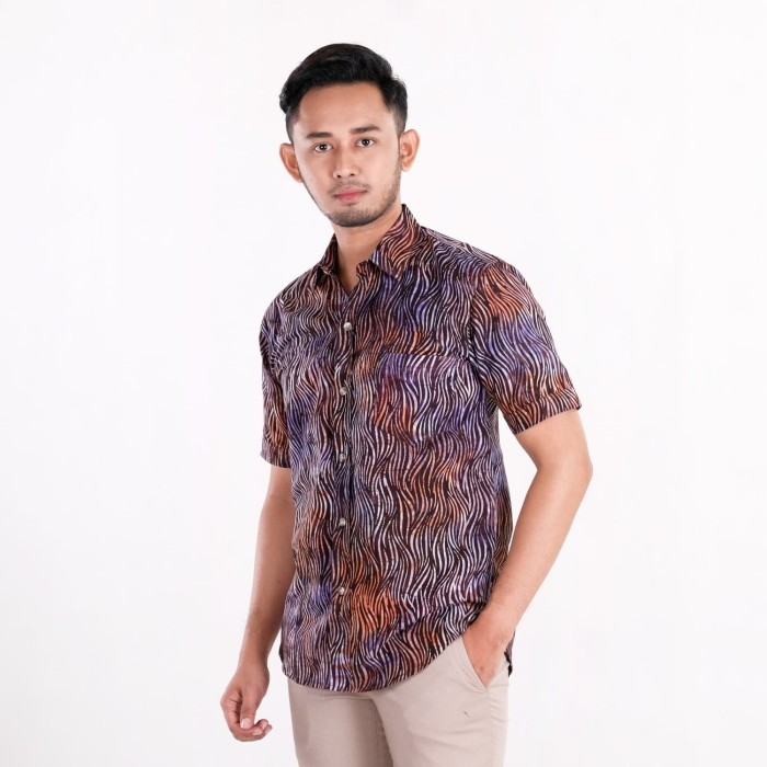 harga Batik pria tampan - kemeja slimfit abs purple waved marble - ungu s Tokopedia.com