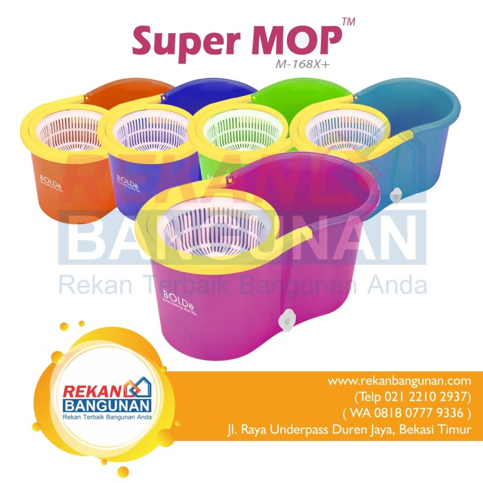 Super Mop Bolde M-168X+ Original Bolde Super Mop M 168X+ Alat Pel - Hijau