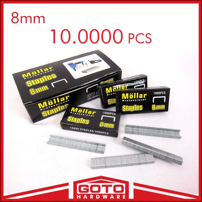 Jual Isi Staples Tembak 10 / 8mm Refill Stapler Gun Nail 10 Box Mollar 8 mm
