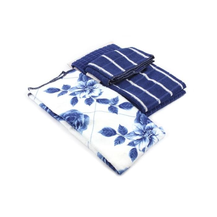 Set Kain Lap Dapur Arthome Motif Bunga 3 Pcs warna Biru