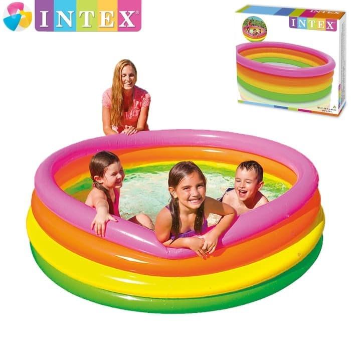 Kolam Renang Anak Sunset Glow 4 Ring Rainbow Pool Intex 56441 168x46cm