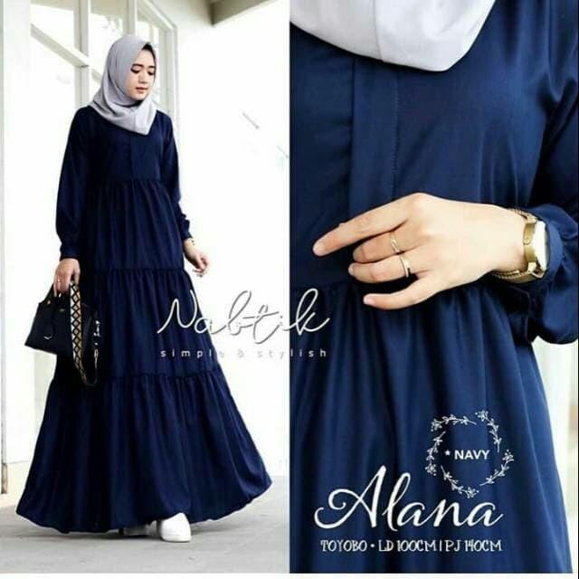 Jual Baju Gamis Wanita Terbaru Baju Muslim Kekinian Alana Dress Kota Bandung A A Fashion Olshop Tokopedia