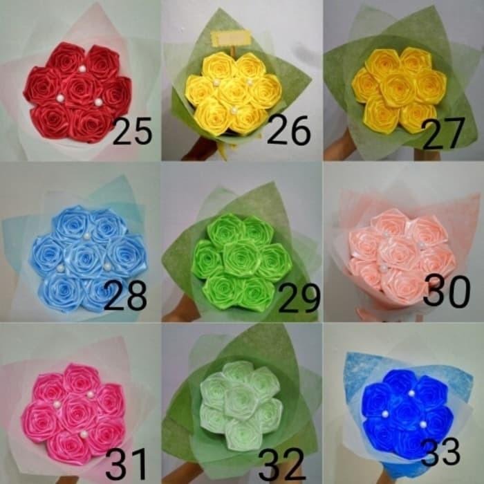Foto Produk buket bunga satin handmade hadiah wisuda sidang valentine ultah dari putria-