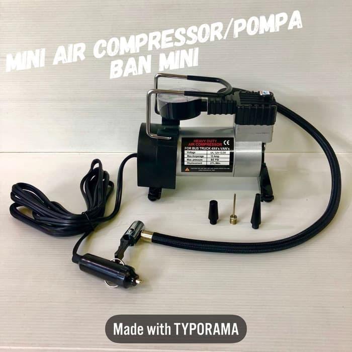 Heavy Duty Air Compressor 12V DC - Pompa Ban Mini Tekanan 80PSI
