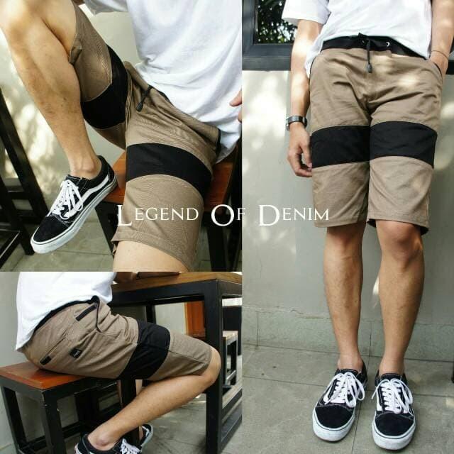 Celana pendek pria chino trendy denim premium casual celana santai