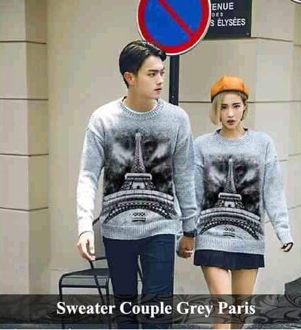 Foto Produk sweater pasangan | baju couple | kado pacar | sweater grey paris dari koleksi baju couple