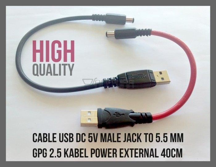 Jual Cable Usb Dc 5v Male Jack To 5 5 Mm 2 5 Kabel Power External