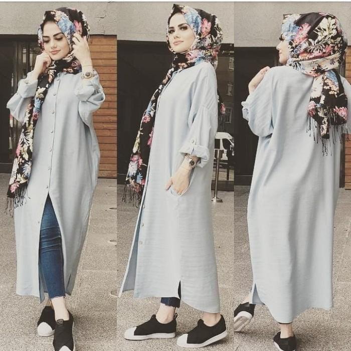 Jual Baju Kemeja Panjang Wanita Indi Long Shirt Dress Simple Kekinian Abu Abu Muda Kota Bandung Remember Store Tokopedia