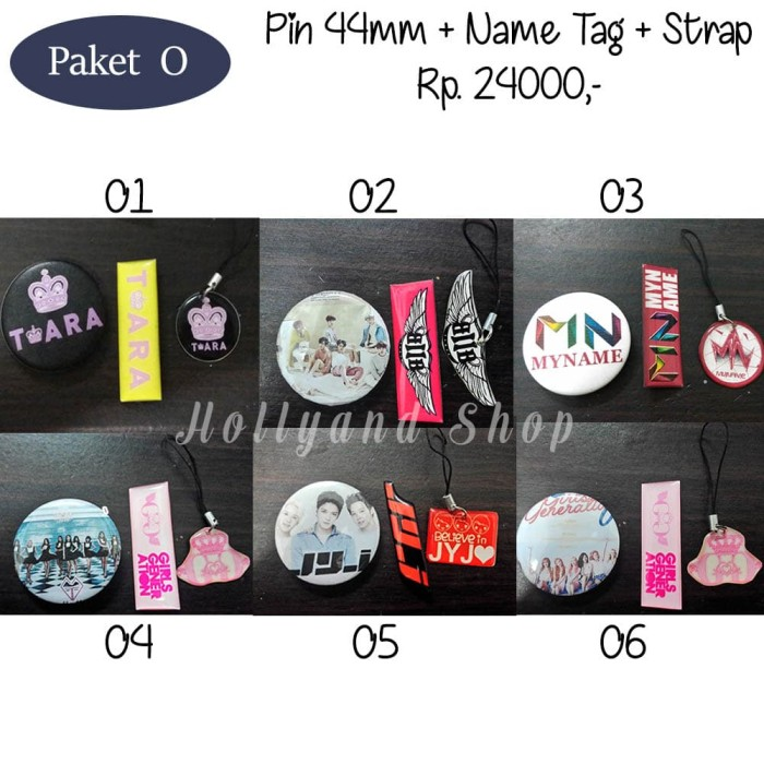 harga Paket o : pin + name tag + strap ( t-ara btob myname snsd jyj) Tokopedia.com