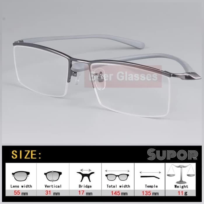Jual Kacamata Half Frame Stainless Steel Hf8 Kaca Mata Plus Minus