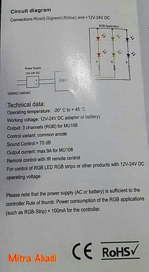 LED Controller Light Music RGB DC 12-24V 9A + Remote Infrared