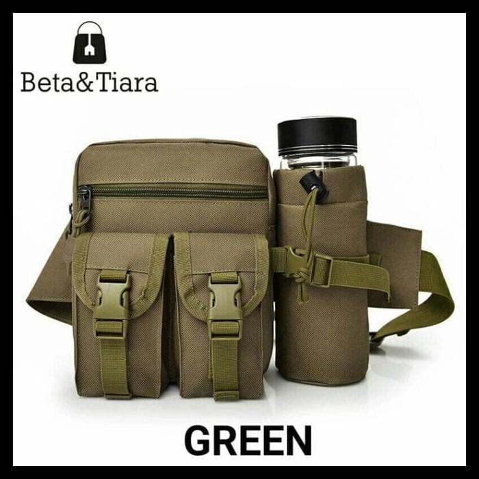 Tas Pinggang Tactical Army Dengan Tempat Botol - Khaki