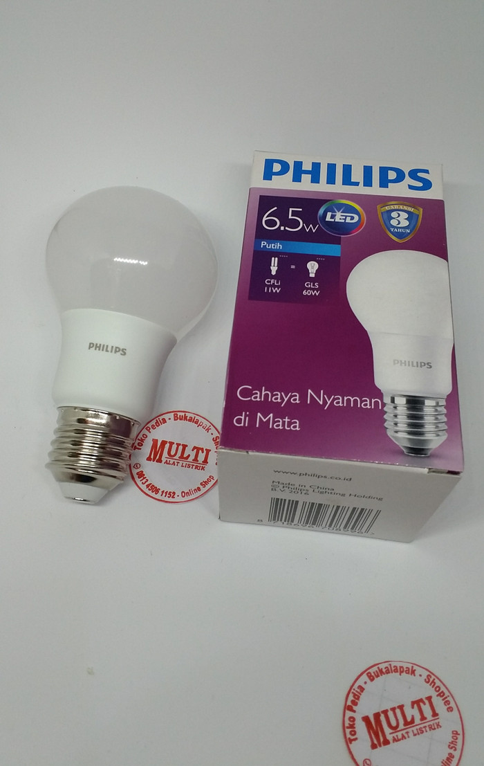 ... harga Lampu led philips 6.5 watt bohlam 6.5 w / philip putih 6.5w bulb led
