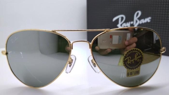 Jual Kacamata Rayban Aviator 3026 frame gold lensa kaca silver ... 227621ff66