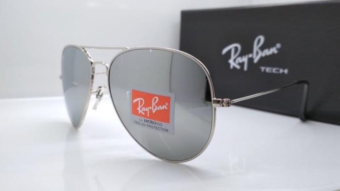 Jual Kacamata Rayban Aviator 3026 frame silver lensa kaca silver ... 40cd30d058