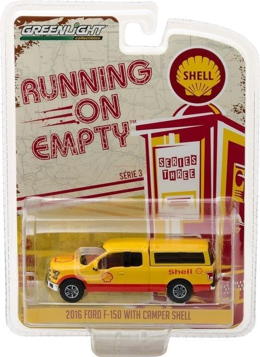 Diecast Mobil Greenlight 1/64 2016 Ford F-150 With Camper Shel AFB0835