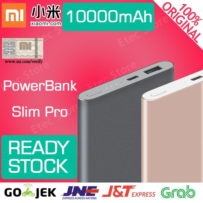 Xiaomi Powerbank Slim PRO 10000 mah Original USB TYPE C - Abu-abu