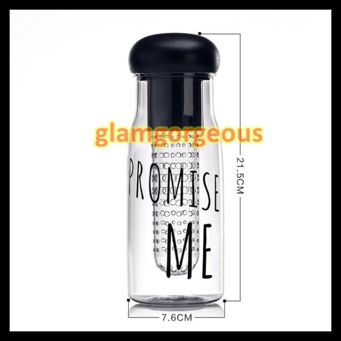 Promise Me - New My Bottle For Infused Water / Botol Tritan - Hitam