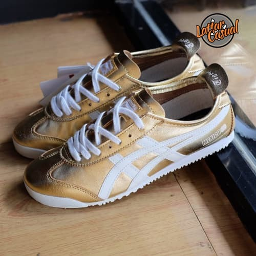 check out a74ae e2883 Jual Asics Onitsuka Tiger Mexico 66 Upgrades Gold White Leather - Kota  Tangerang - LATTAR CASUAL | Tokopedia