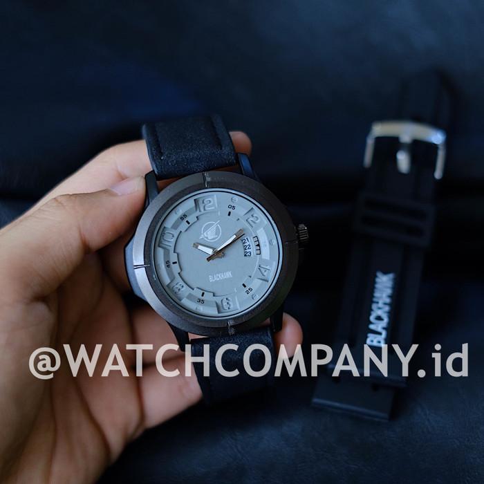 Jam Tangan Pria / Cowok Blackhawk Set Analog Time Leather Black