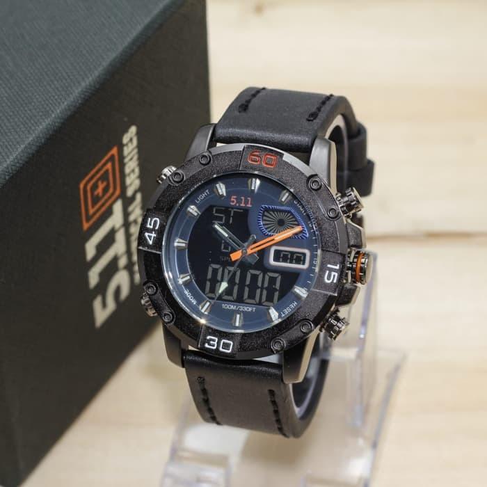 (Diskon) Jam tangan cowok / pria 511 Dual time ( hitam biru )