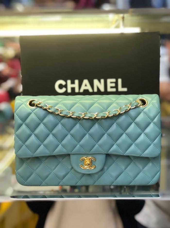 Chanel classic mini blue ciel calfskin 20cm   tas pesta wanita 96cb64012d
