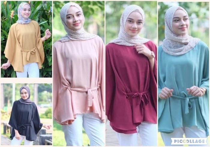 Atasan Wanita Clove Blouse Tunik Baju Muslim Blus Muslim - Pink