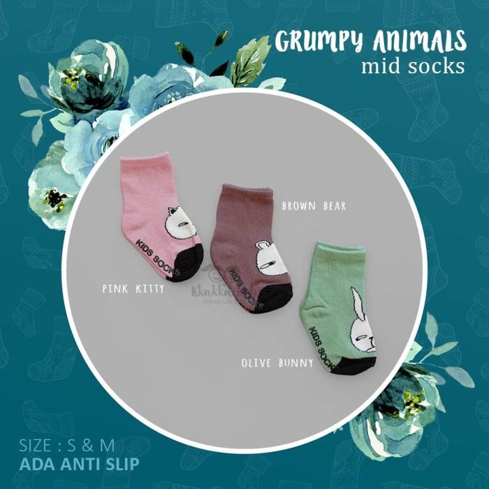 Kaos kaki Anak Bayi Sebetis (Grumpy Animals Mid Sock) - Size S, Pink