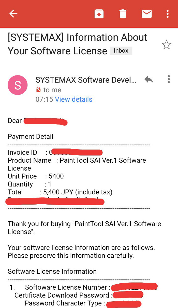 software license number paint tool sai
