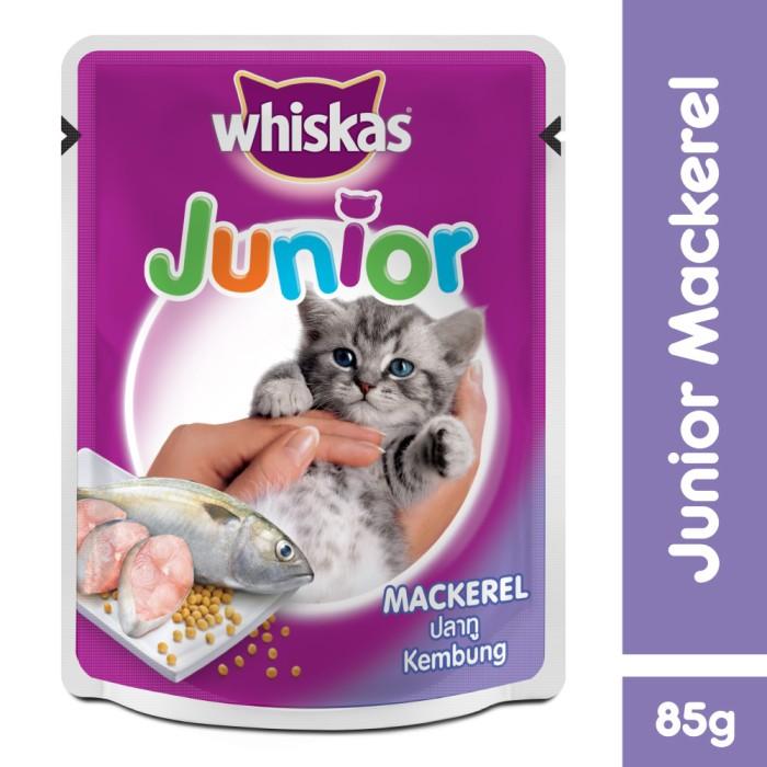 harga [isi 24 pack] whiskas pouch junior 85gr makanan kucing rasa mackerel Tokopedia.com