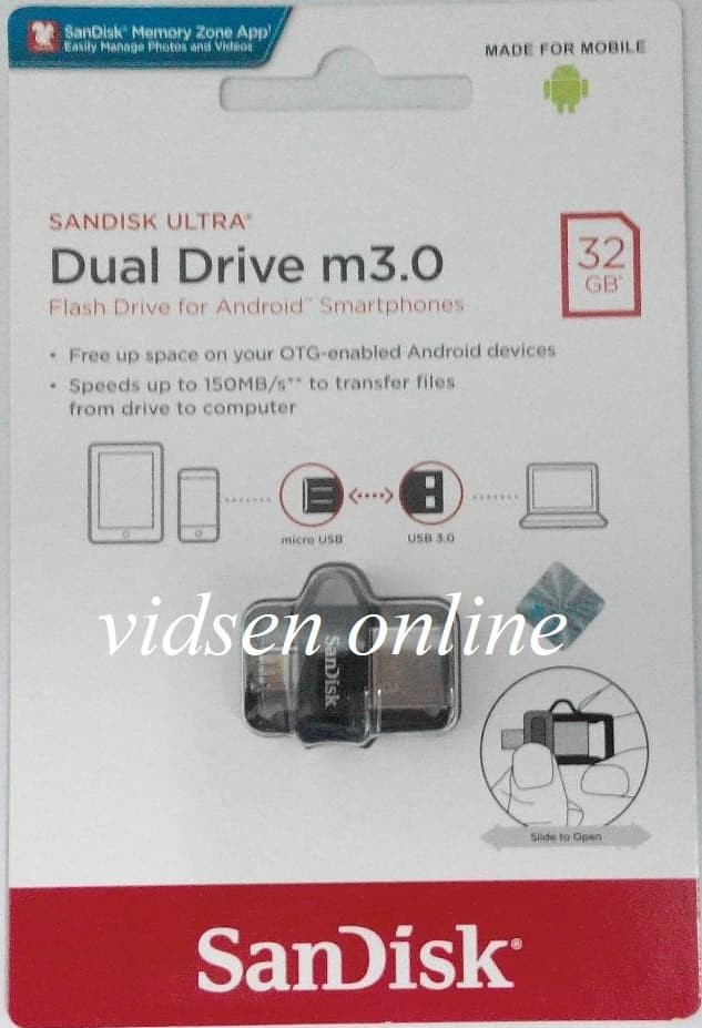 Sandisk Ultra Dual Drive m3.0 OTG 32gb Up to 150MB/s - Garansi Resmi